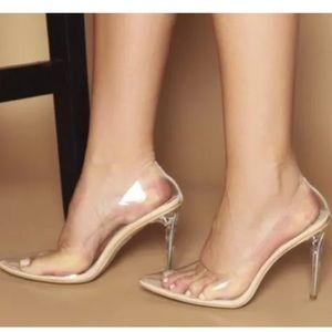 Designer inspired Kim K clear transparent heel